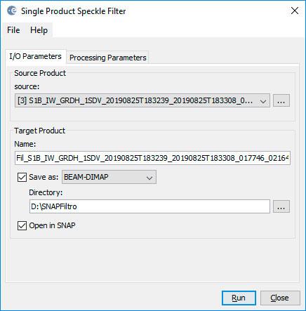 Filtro de imágenes rádar con SNAP y Speckle Filter