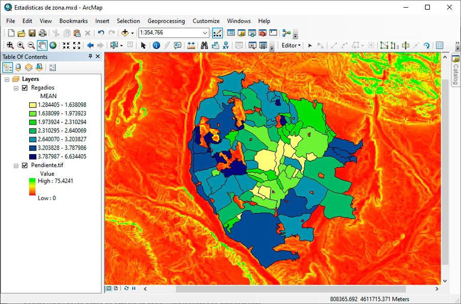Cálculo de estadísticas de zona sobre ráster en ArcGIS