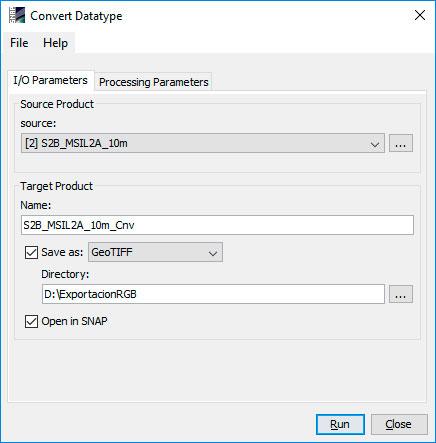 Cómo exportar imágenes satélitales en SNAP
