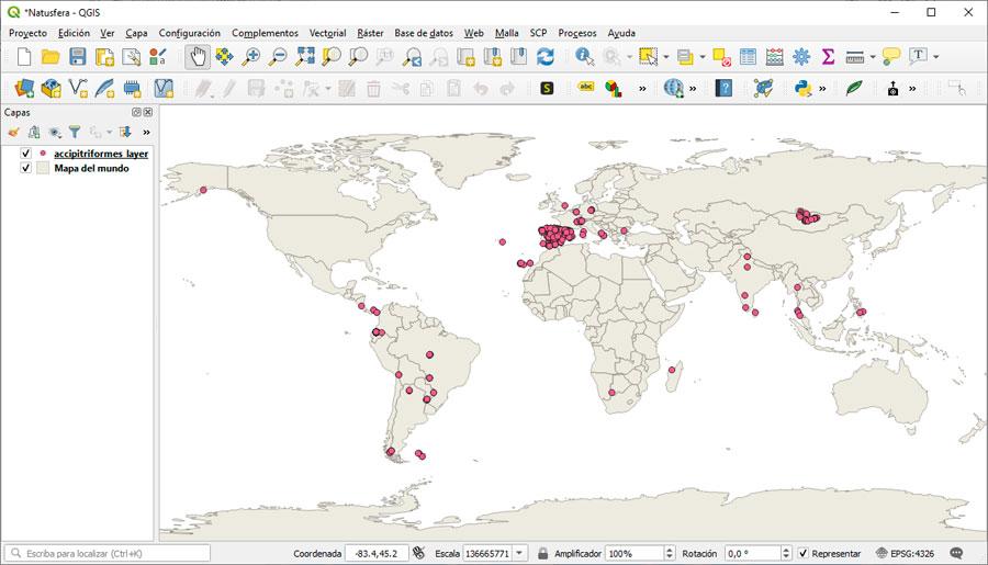 Natusfera, distribución cartográfica de especies mundiales