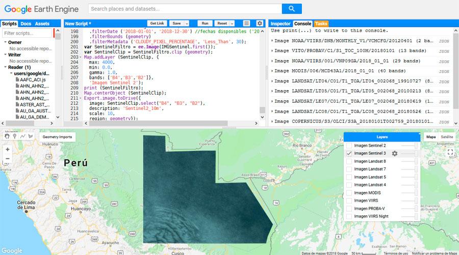 Script Google Engine para imagenes satélite