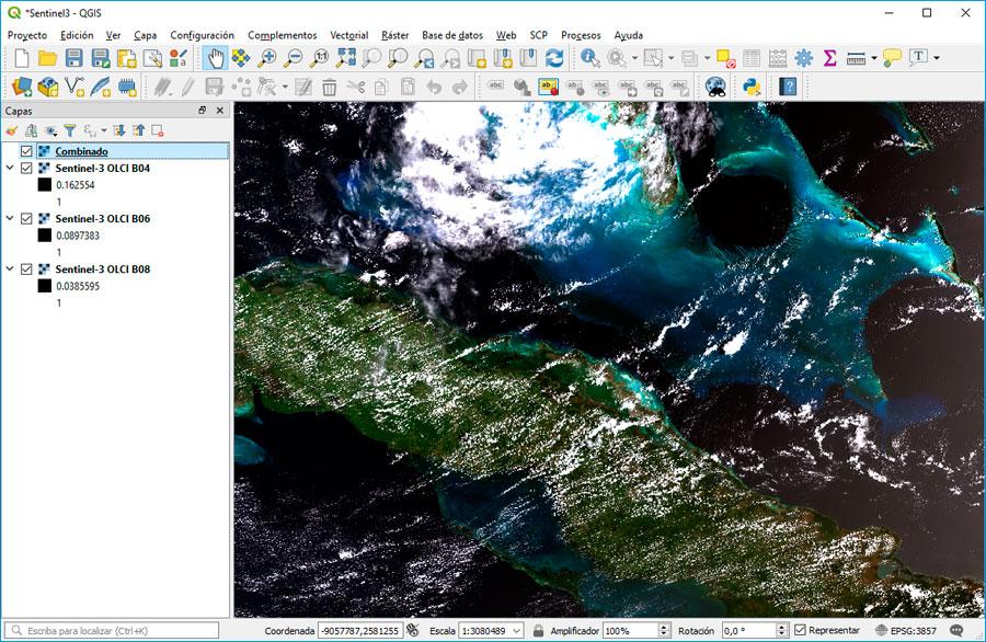 Visualizar imágenes Sentinel 3 en QGIS