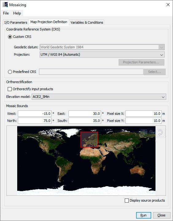 Seleccion de proyecciones y resoluciones de imágenes satelite en SNAP