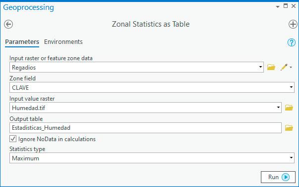 Cálculo de estadísticas de zona sobre ráster en ArcGIS Pro