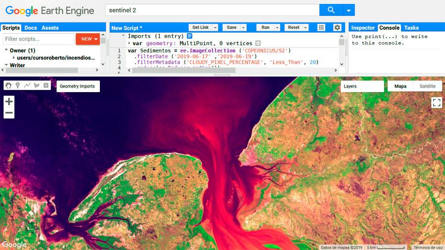 Análisis de sedimentos en imágenes satélite por multiplicación de bandas RGB