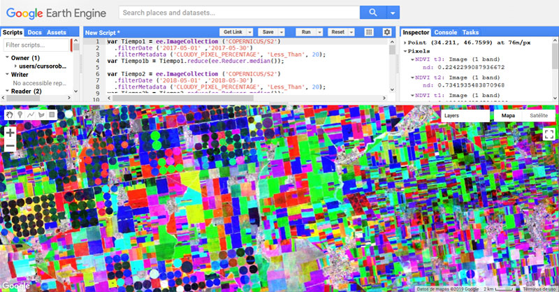 Análisis de vegetación NDVI multitemporal en Google Earth Engine
