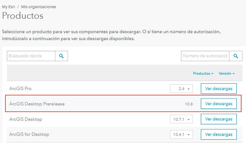 Descargar ArcGIS 10.8 Prerelease