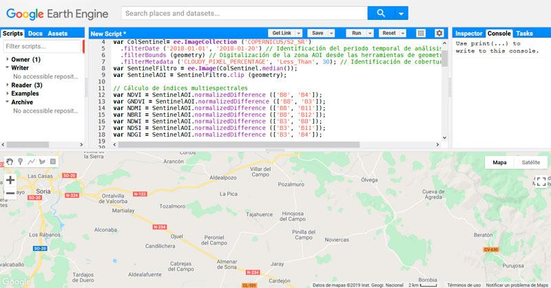 Composición masiva de índices y filtros RGB Sentinel 2 en GEE
