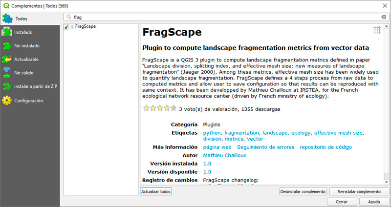 FragScape, índices de fragmentación del paisaje al estilo Fragstats