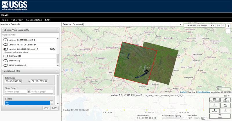 GloVis, descargar imágenes satélite y DEM de la USGS