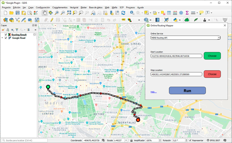 Callejeros y análisis de redes en Google Earth para QGIS