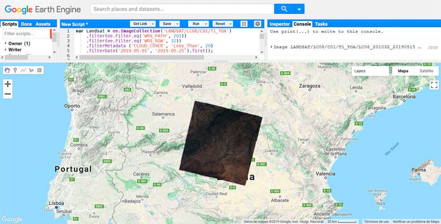 Búsqueda de imágenes satelitales Landsat por Path y Row en Google Earth Engine