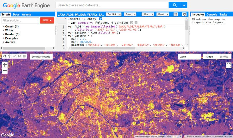 Datos SAR de ALOS PALSAR en Google Earth