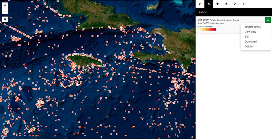 Cartografía de coordenadas de especies marinas