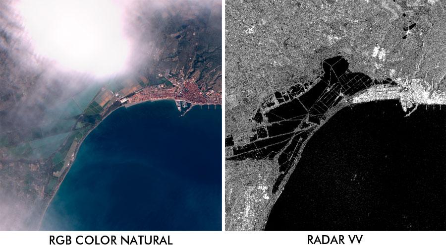 Datos radar para imagen satelite