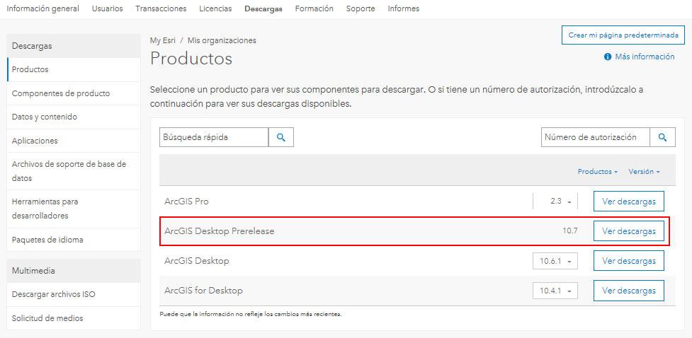 Descargar ArcGIS 10.7