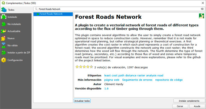 Forest Roads Network para QGIS