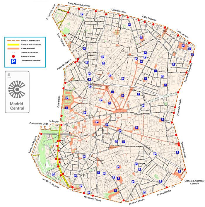 Límites del mapa de Madrid Central