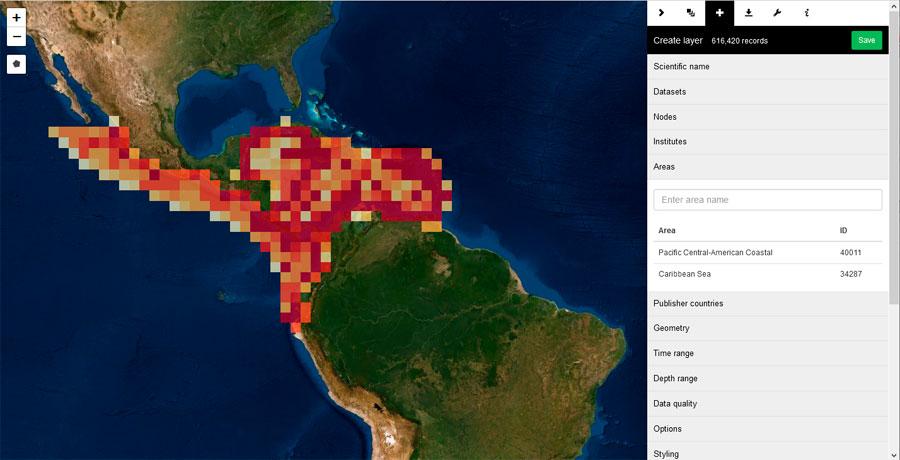 Mapas de riqueza de especies marinas
