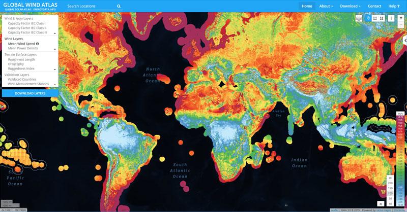 Recursos GIS eólicos: mapas de velocidad del viento
