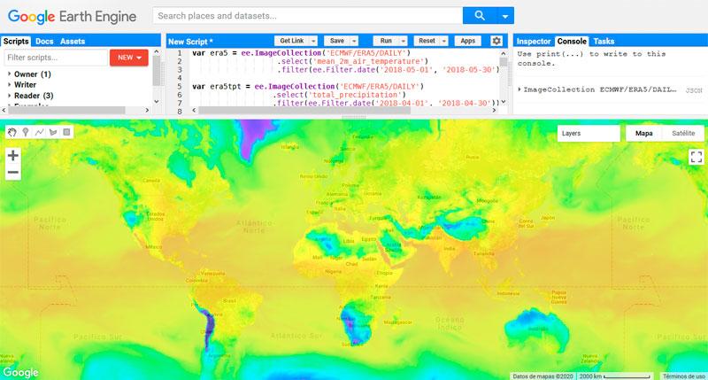 ERA5-Land, datos climáticos en Google Earth Engine