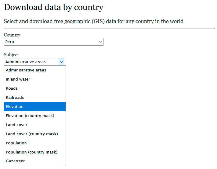 Descargar DEM por país