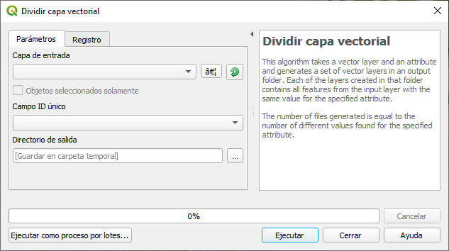 Dividir capa vectorial shapefile en QGIS