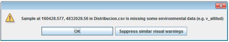 Errores en coordenadas de distribución en MaxEnt