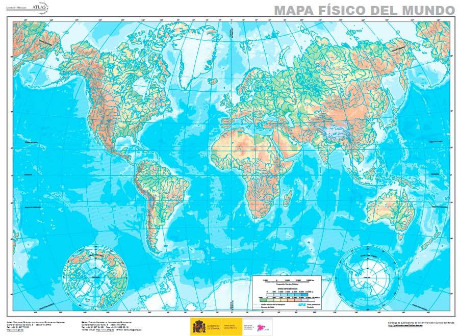 Mapa mundi fisico mudo
