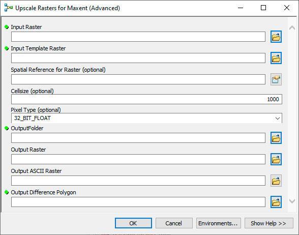 Toolbox de preparación de archivos ráster para MaxEnt
