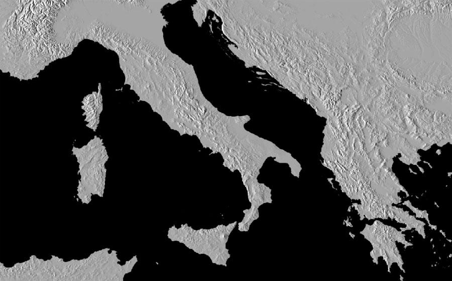 Mapa base de sombras hillshade