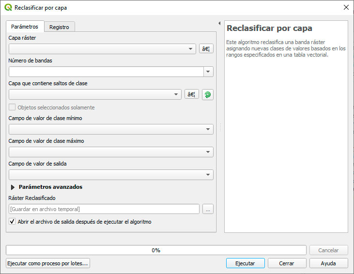 Reclasificar por capa en QGIS