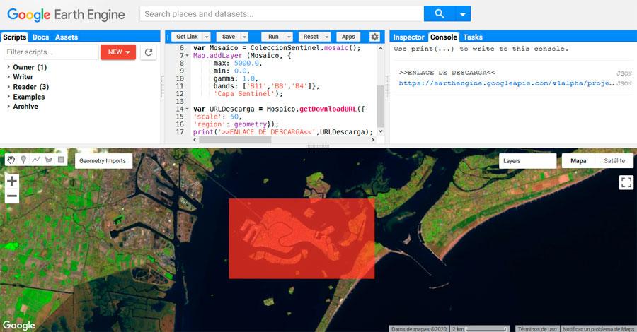 Descarga de imágenes de Google Earth Engine por URL