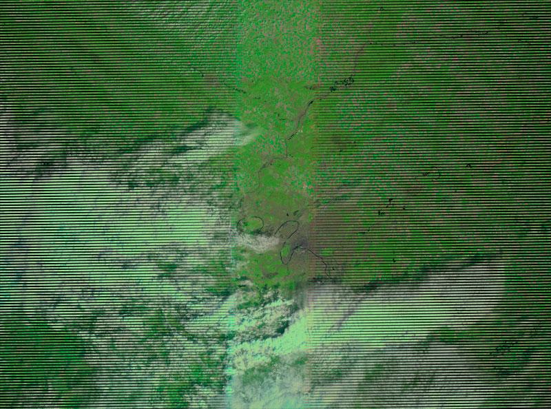 Landsat 7, error en bandas con ausencia de información