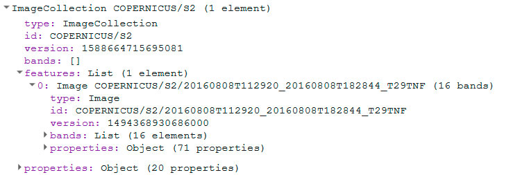 Lista de imágenes satélite Sentinel