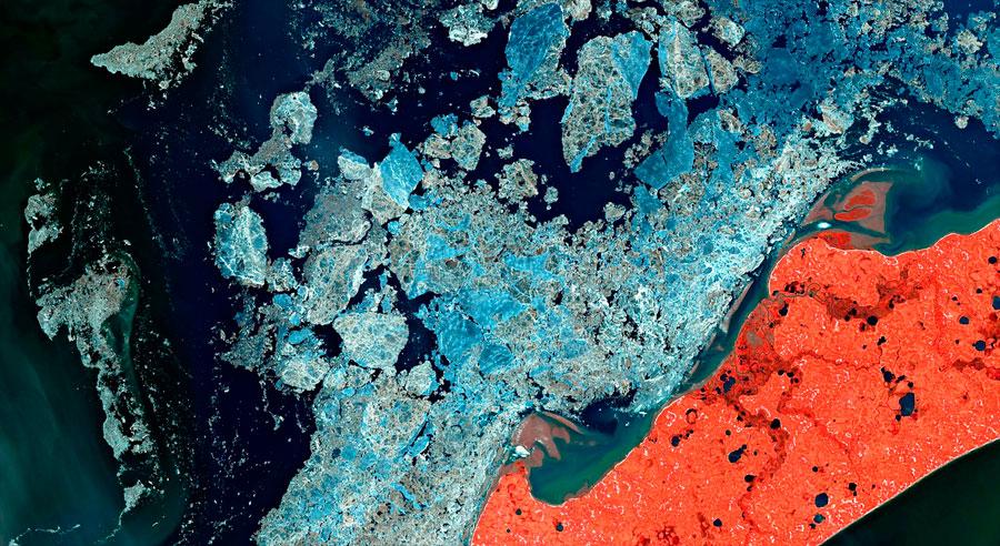 Imagen satélite deshielo polar y cambio climático
