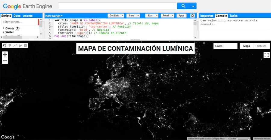 Añadir el título de mapa en Google Earth Engine