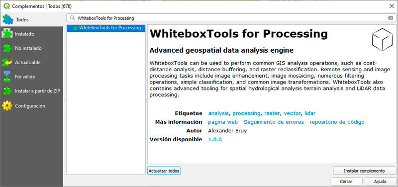 Cómo instalar WhiteboxTools para QGIS