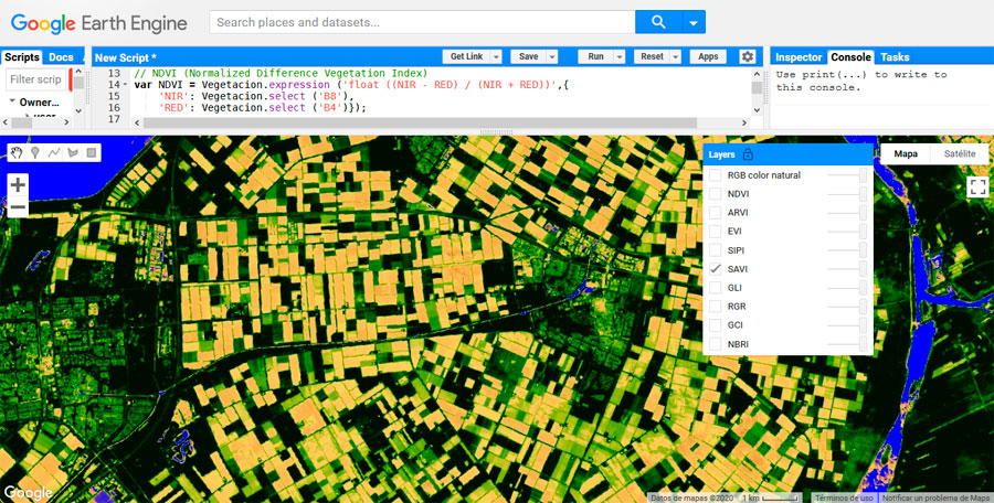 Recopilatorio de índices de vegetación en Google Earth Engine