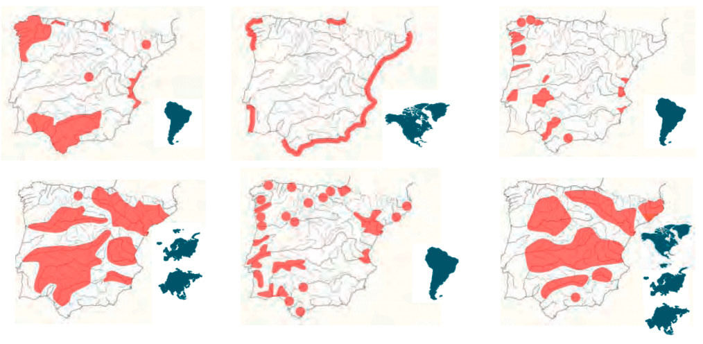 Mapas de distribución de especies invasoras