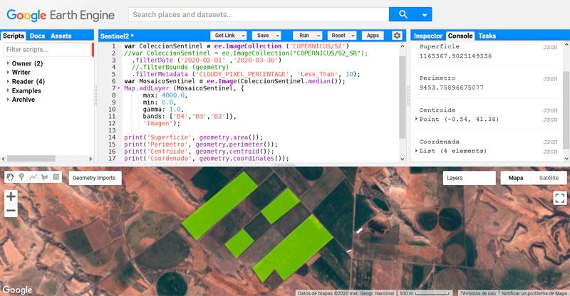 Cálculo del área de polígonos en Google Earth Engine