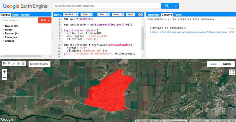 Exportar archivos en Google Earth Engine