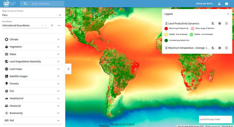 Variables ambientales de Google Earth Engine