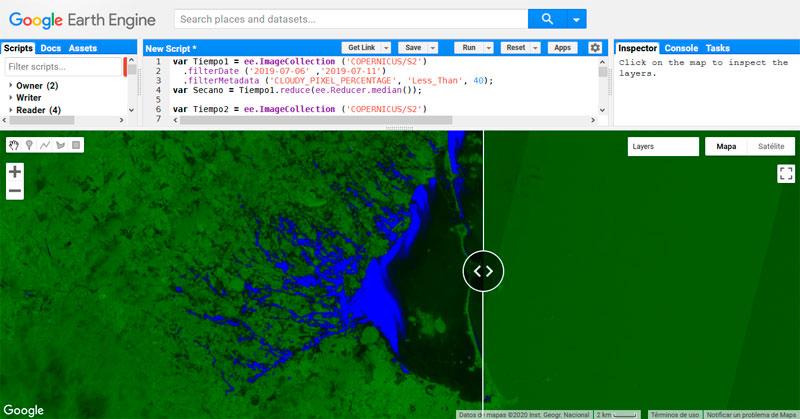 Análisis de inundaciones en Earth Engine usando datos ópticos