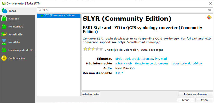 SLYR plugin para QGIS