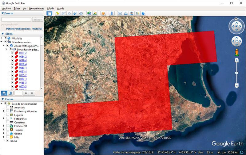 KMZ y KML Zonas Restringidas al Vuelo Fotogramétrico de drones