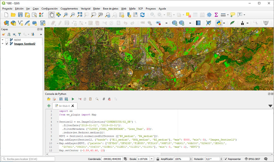 Plugin de Google Earth Engine para QGIS con Python