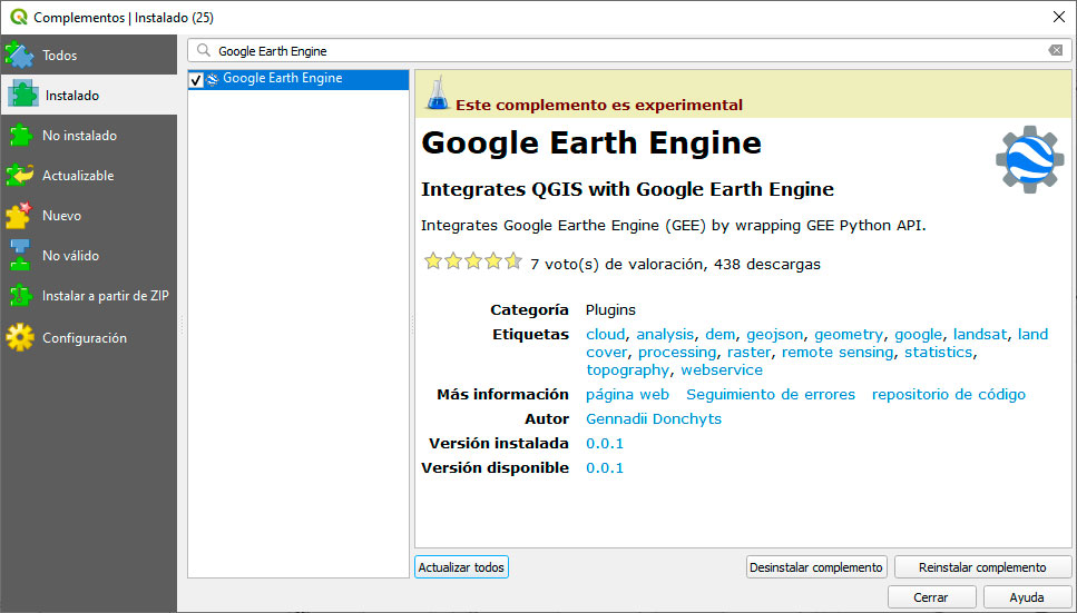 Plugin Google Earth en QGIS