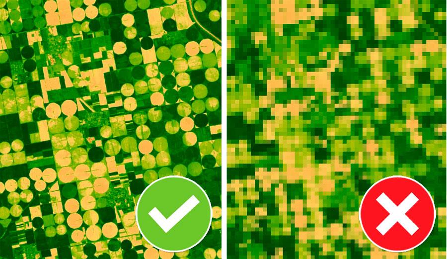 Tamaño de pixel en álgebra de mapas