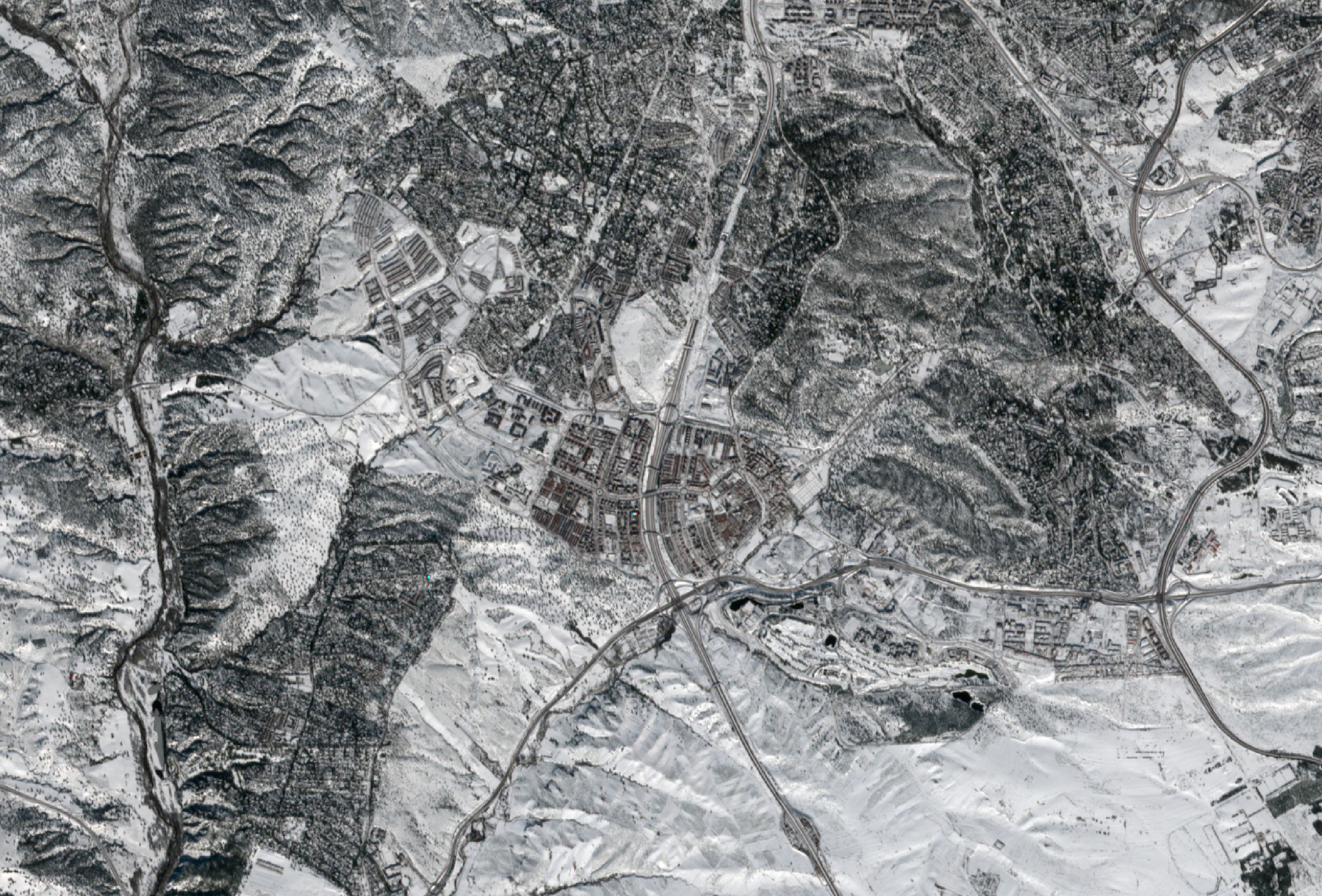 Imagenes satélite de Madrid nevado